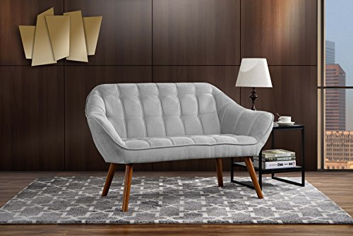 Couch for Living Room, Tufted Linen Fabric Love Seat (Light Grey)