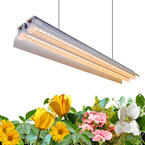 Monios-L T5 LED Grow Light, 4FT Full Spectrum Sunlight Replacement, 60W High Output Integrated Fixture with Rope Hanger for Indoor Plants, Hydroponics, Seedling, Growing, Blooming (60w Led Grow Light)
