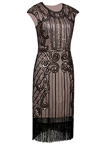 Vijiv 1920s Vintage Inspired Sequin Embellished Fringe Long Gatsby Flapper Dress,Black Beige,Medium]()