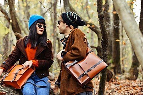 Orange Leather Women's Handmade Backpack