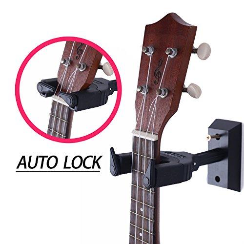 Ukulele Wall Hanger Auto Lock Safety Wooden Wall Mount Holder, Guitar hanger and Mandolin Hanger (Black)