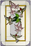 Hummingbirds Fuchsia Vertical Art Glass Panel 30 x 20