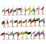 30PCS Fishing Lures Spinnerbait for Bass Trout Walleye Salmon by LotFancy - Assorted Metal Inline Spinner Baits