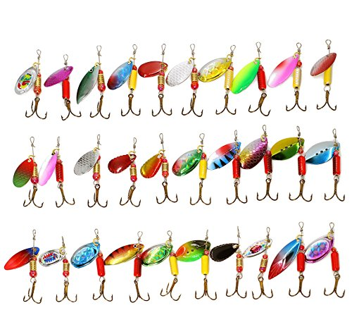 30PCS Fishing Lures Spinnerbait for Bass Trout Walleye Salmon by LotFancy - Assorted Metal Inline Spinner Baits (River Lures Fishing Bait)
