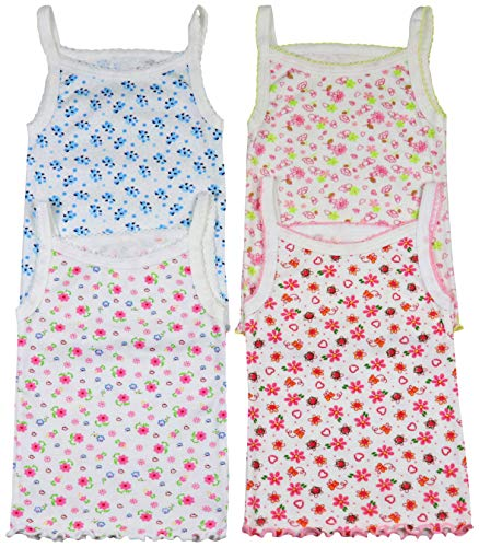 ToBeInStyle Girls' 4 Pack Ruffle Hem Spaghetti Strap Tops - Floral - Size 12