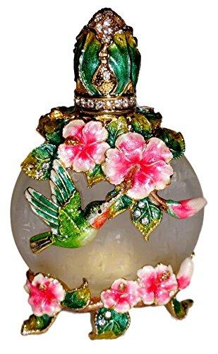 Kubla Crafts Bejeweled Hummingbird & Pink Flowers Austrian Crystal Enamel Perfume Bottle