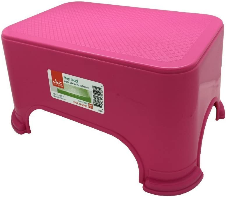 Click Home Design Step Stool Pink Bright /& Beautiful Collection #35528-11.5 x 7.3 x 6.5 inches
