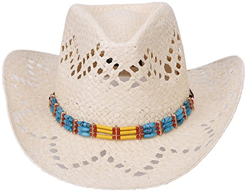 Simplicity Western Men / Women Cowboy Straw Hat with Colorful Bead