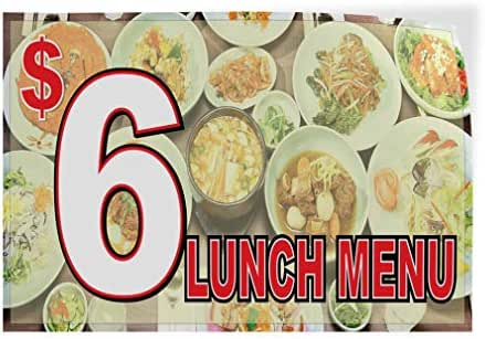 Decal Sticker Multiple Sizes $6 Lunch Menu Restaurant Cafe Bar Style U Restaurant & Food $6 Lunch Menu Outdoor Store Sign Brown - 72inx48in,