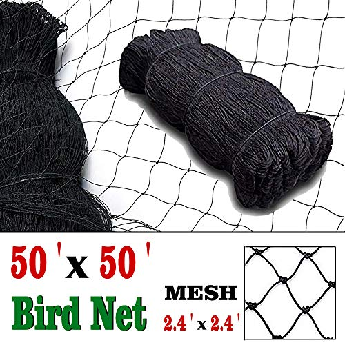 """COMPATH Bird Netting Heavy Duty Garden Net Protect Plants and Fruit Trees Protective Netting 2.4″ Square Mesh Size(Black 50'×50′-2.4"""")"""