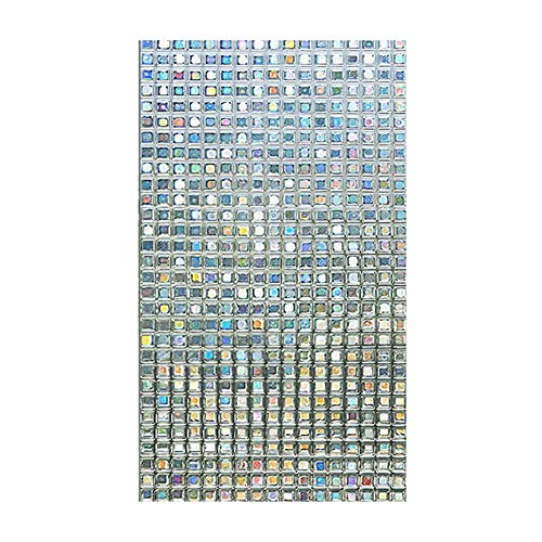 (Polytree Wall Sticker, Static Cling Mosaic Colorful Square Stained Glass Window Door Glass Film Decor)