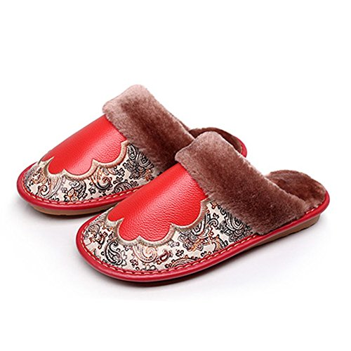 TELLW Leather Warm Cotton Slippers Female Male Winter Indoor Floor Thickening Leather Slippers Red dgLHU7