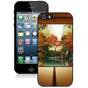 Fashionable Custom Designed iPhone 5S Phone Case With Japanese Autumn Garden_Black Phone Case