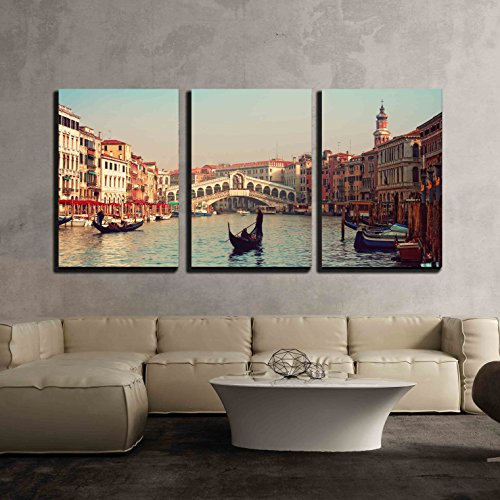 wall26 - 3 Piece Canvas Wall Art - Rialto Bridge and Gondolas in Venice - Modern Home Decor Stretched and Framed Ready to Hang - 16