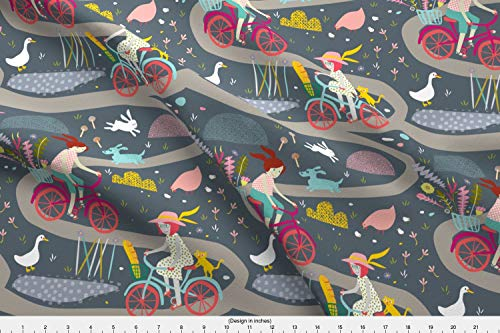 Spoonflower Bicycle Fabric - Australia Road Cycling Bike Farm Country - by Mountvicandme Printed on Satin Fabric by The Yard