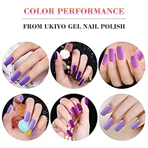 Ukiyo 6PCS Gel Nail Polish Set Purple Gel Nail Starter Kit UV LED Gel Polish Varnish Long Lasting Lacquer 10ML