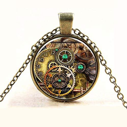 Gear Dial Plate Steampunk Bronze Necklaces Time Gem Glass Cabochon Pendant