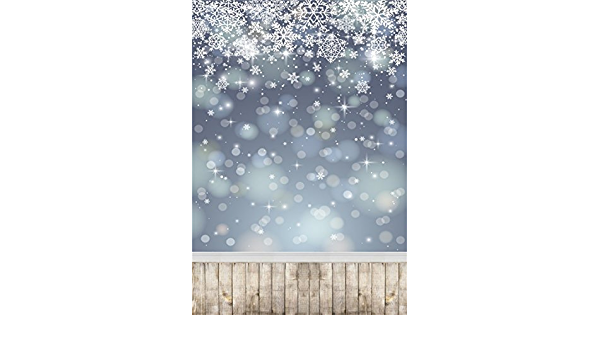 10x6.5FT Photography Background Merry Christmas Backdrop Snowflake Wooden Floor Frozen Frost Cold Winter Snowcovered White World Blank Bokeh Fir Happy New Year Photo Portrait Vinyl Studio Prop