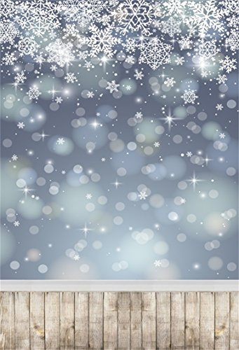 Celebration 7' Plates (AOFOTO 5x7ft Snowflake Backdrop White Christmas Photography Background Abstract Falling Snow with Vintage Wood Plank Kid Baby Girl Artistic Portrait Photoshoot Studio Props Video Drape Wallpaper)