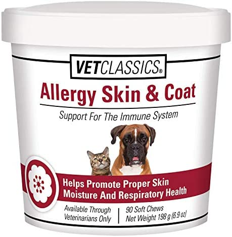Vet Classics Allergy Skin Coat Support for Dogs Cats for the Immune System with Antioxidants, Helps Promote Proper Skin Moisture and Respiratory Health, 90 Soft Chews