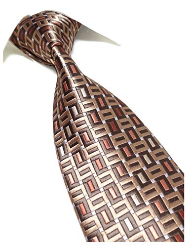 Extra Long Fashion Tie Rectangle Pattern Men's Woven Jacquard Handmade Necktie (Gold/Brown)