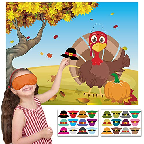 Happy Storm Thanksgiving Party Games Pin The Hat on The Turkey Fall Festival Birthday Party Supplies Favors for Kids Thanksgiving Pin Game with 24 Hat Reusable Stickers Party Activities (Best Games For Thanksgiving)