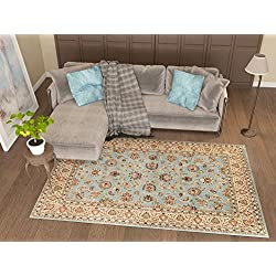 "Antique Classic Light Blue 7'10"" x 9'10"" Area Rug Oriental Floral Motif Detailed Classic Pattern Persian Living Dining Room Bedroom Hallway Home Office Carpet Easy Clean Traditional Soft Plush Quality"