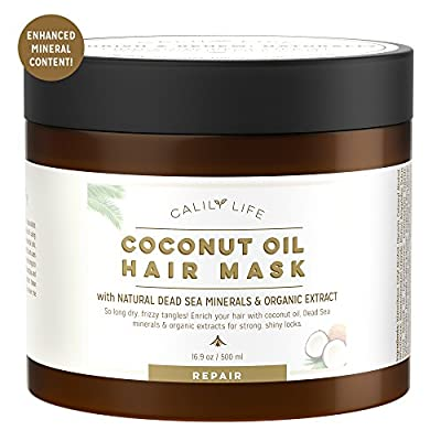 Calily Life Organic Coconut Oil Hair Mask with Natural Dead Sea Minerals, 17 Oz. – Repairs Damaged Hair, Hydrates, Shines, Moisturizes & Softens - Increases Natural & Healthy Hair Growth [ENHANCED]