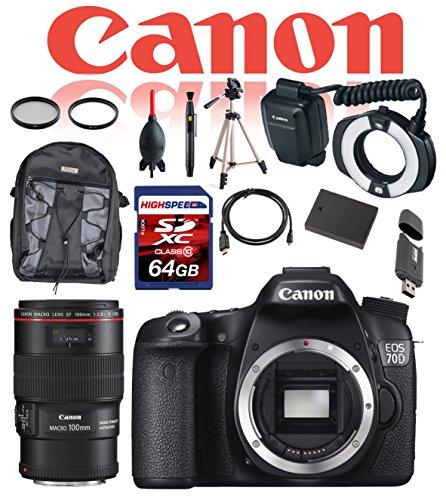 Canon Dental and Dermatology Kit EOS 70D 20.2 MP Digital SLR Camera (Body) w/ Canon EF 100mm f/2.8L Macro IS USM Lens, Canon MR-14EX II Macro Ring Lite, 64GB