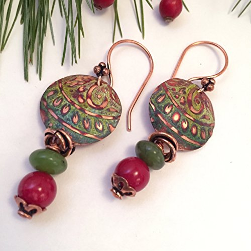 Etched Jade Glass (Ma'at Boho Rounds Red, Blue, Green Patina Rounds with Jade and Red Bead Drop Earrings in Copper by BANDANA GIRL)