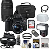 Canon EOS Rebel T6i Wi-Fi Digital SLR Camera & EF-S 18-55mm IS STM & 75-300mm III Lens + Case & 16GB Card + Tripod + Flash + Tele/Wide Lens Kit