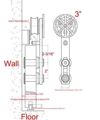 DIYHD 6FT stainless steel sliding barn wood door hardware movable spoke wheel brushed barn door sliding track kit by DIYHD (Image #6)