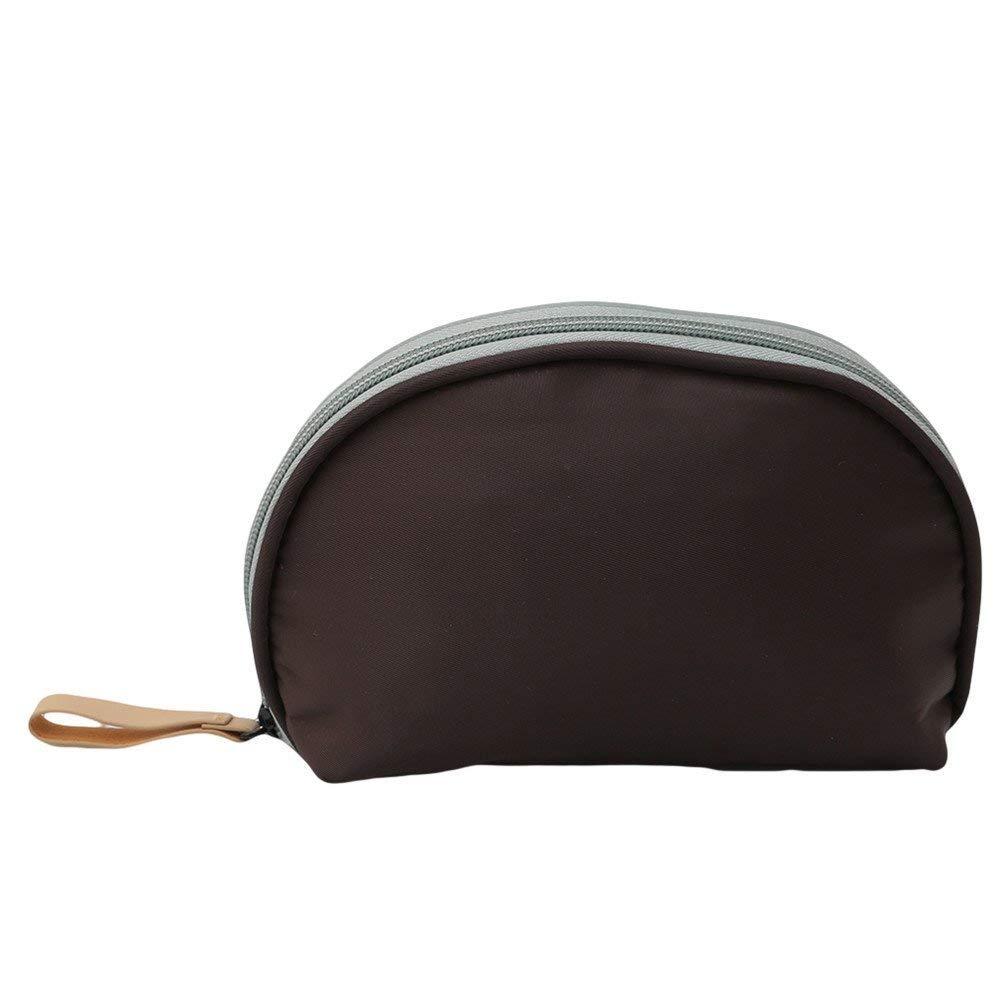 Pequeña bolsa de cosméticos neceser bolsa de maquillaje organizador mujer portátil cremallera bolso de mano (beige) negro negro Sytheny