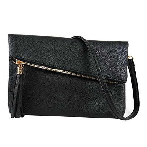 LABANCA Women Tassels Envelope Evening Handbag Clutch Faux Leather Fold Over Wristlet Shoulder Purse Black (Fold Clutch Over Purse)