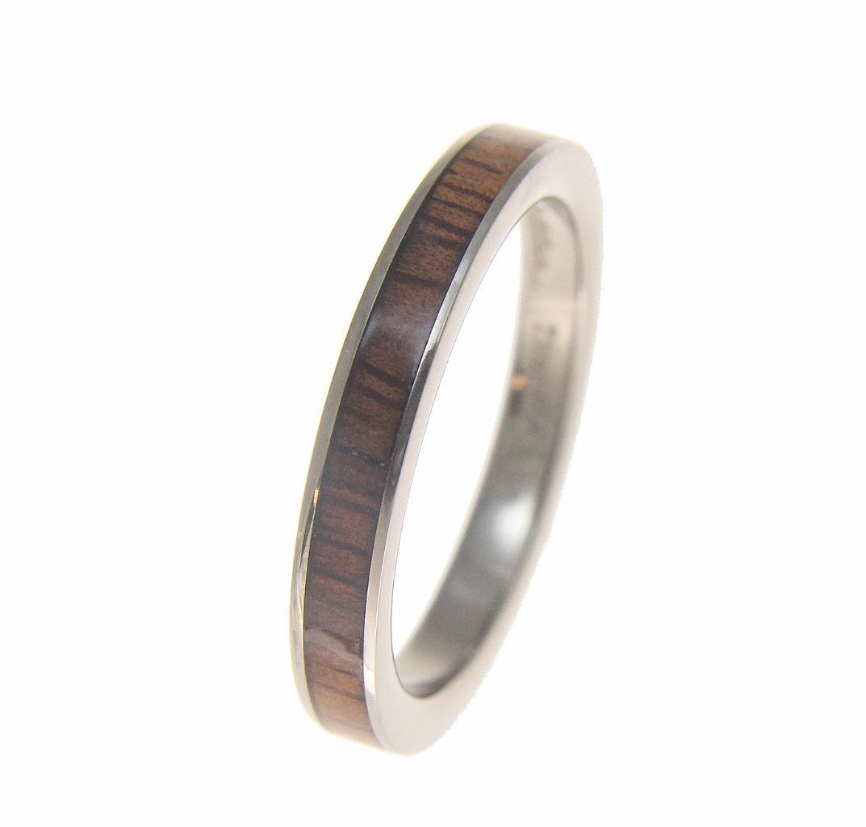 Genuine inlay Hawaiian koa wood wedding band ring titanium 3mm size 6.5 by Arthur's Jewelry (Image #4)