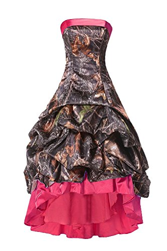 APXPF Women's High Low Strapless Camo Bridesmaid Prom Dress Wedding Party Gown Rose US12