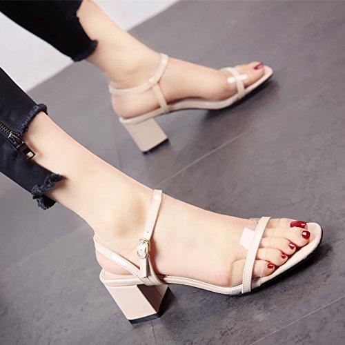 e della tacchi moda del dita YMFIE comoda Piazza c tallone sandali lady caviglia alti Estate SqwnUPv