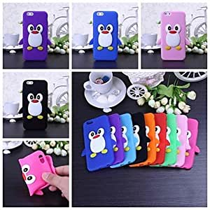 LIMME Cute Penguin Pattern Silicone Soft Case for iPhone 6(Assorted Colors) , Red