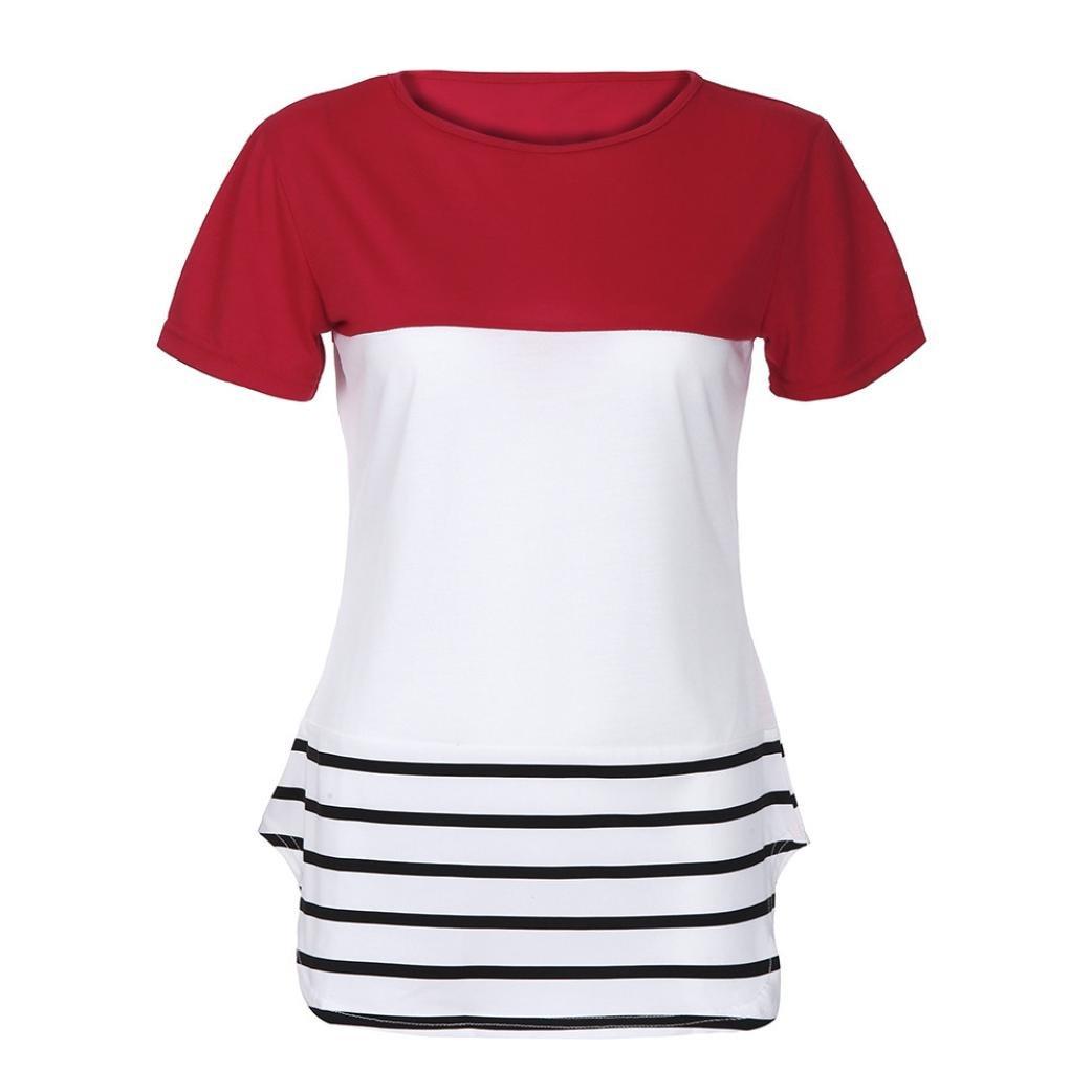 ❤ Camiseta de Empalme a Rayas Mujer,Camiseta Casual de Manga Corta con Cuello en Color Mujer Summer Tops Absolute: Amazon.es: Ropa y accesorios