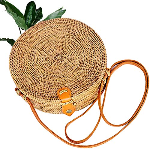 Bali Wicker - Kbinter Handwoven Round Rattan Straw Bag for Women Shoulder Leather Button Straps Natural Chic Handmade Boho Bag Bali Purse (1 Pack)