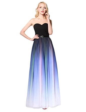 Ikerenwedding Womens Sweetheart Ruched Bust Ombre Maxi Chiffon Evening Dress Black and Purple UK8