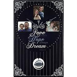 Ashton Sutton WAC875 Love Hope Dream Quartz Analog MDF Photo Frame Wall Clock