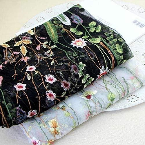 negro YOUMU ancho 119,38 cm x 1 m 100*120 cm//39.37*47.2 color negro Tela de encaje dise/ño bordado floral para vestido de novia