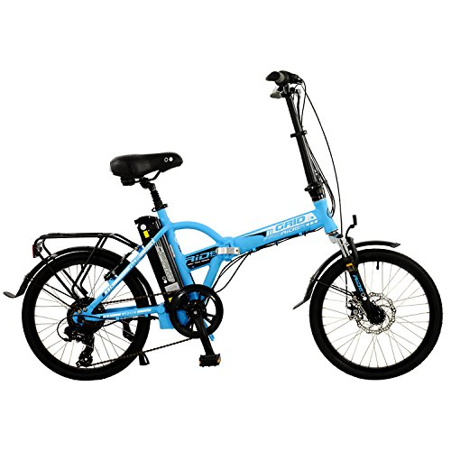 "Grid 20"" Unisex Alloy Folding Electric Bike, Blue"