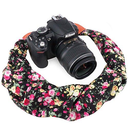 Wolven Soft Scarf Camera Neck Shoulder Strap Belt Compatible for All DSLR/SLR/Digital Camera (DC)/Instant Camera/Nikon/Canon/Sony/Pentax/Olympus/Leica/Fujifilm etc, Black Flower