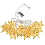 fantastic me Battery Operated 3m/9.8ft 30 LED Christmas Decorative Metal Hollow Star Fairy String Lights for Outdoor Indoor Home Patio Lawn Landscape Garden Bedroom Wedding Holiday Halloween Party