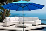 New Cielo-blue Deluxe 10′ Outdoor Patio Beach Garden Umbrella Shade with Crank and Air Vent Blue For Sale