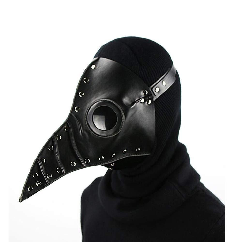 GHH maschera di Halloween per adulti Cosplay Mask Plague Doctor Bird maschera naso lungo becco Cosplay Steampunk di costume di Halloween, nero