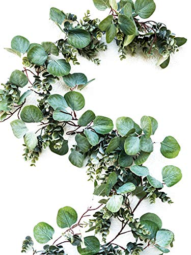 WildIvory Eucalyptus Leaves Artificial Garland 6 Ft Long x 5.9
