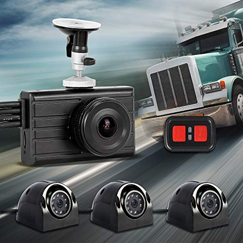 Vsysto Dash cam Backup Camera (1080P+VGA3) 3CH Waterproof Lens for Truck/Bus/Trailer/Cars/Tractor/Van/RV DVR Recording System with G-Sensor, Loop Recording (Infrared Night Vision)